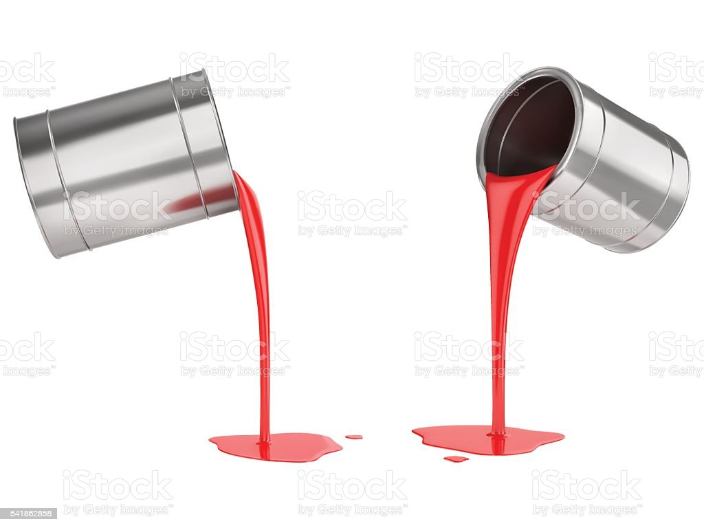 Red liquid paints spouting from can vector art illustration