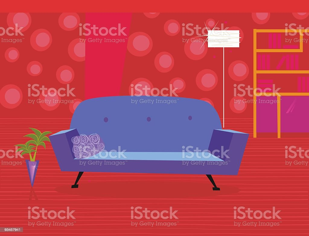 Red living room in retro style royalty-free stock vector art
