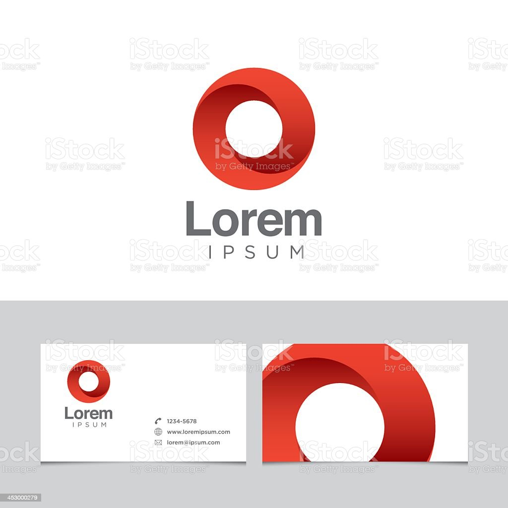 Red logo design element with business card template vector art illustration