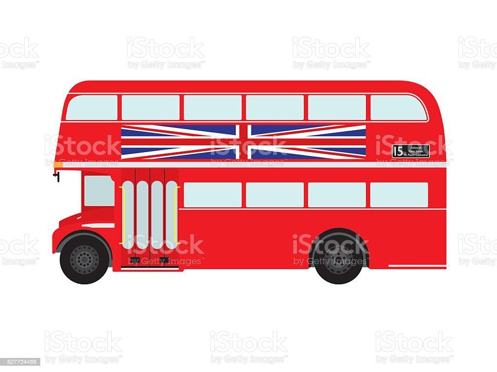 Red London Doubledecker Bus with Union Jack vector art illustration