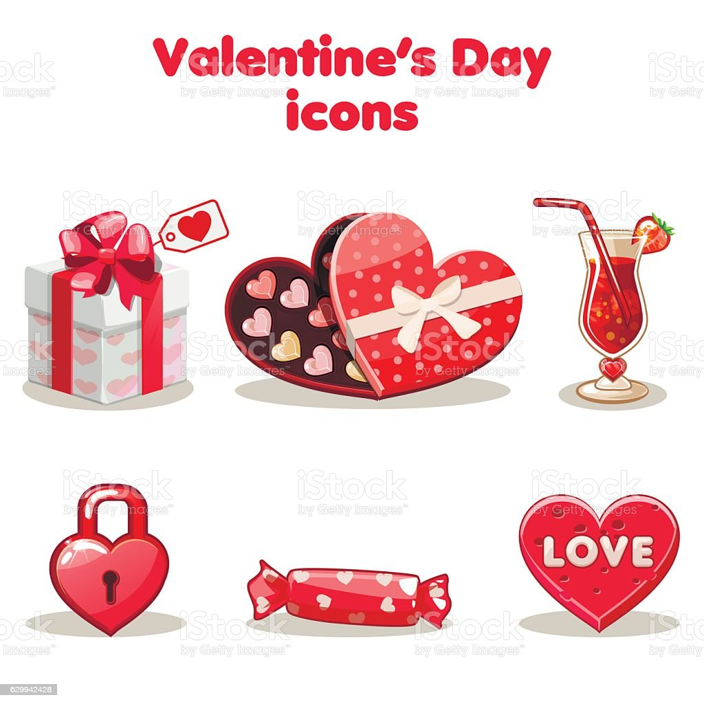 Red love collection valentine s day vector art illustration