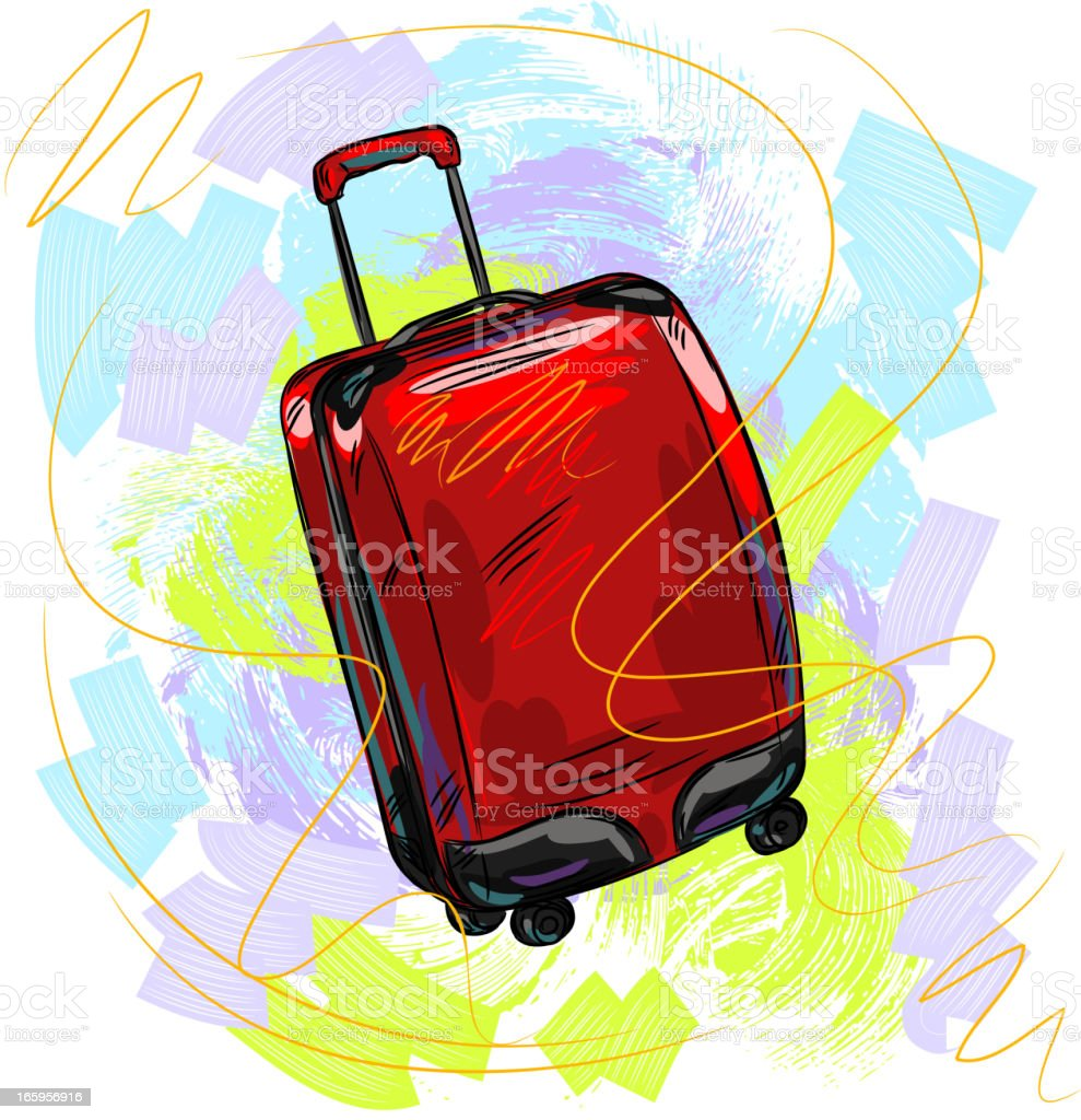 Red Luggage vector art illustration