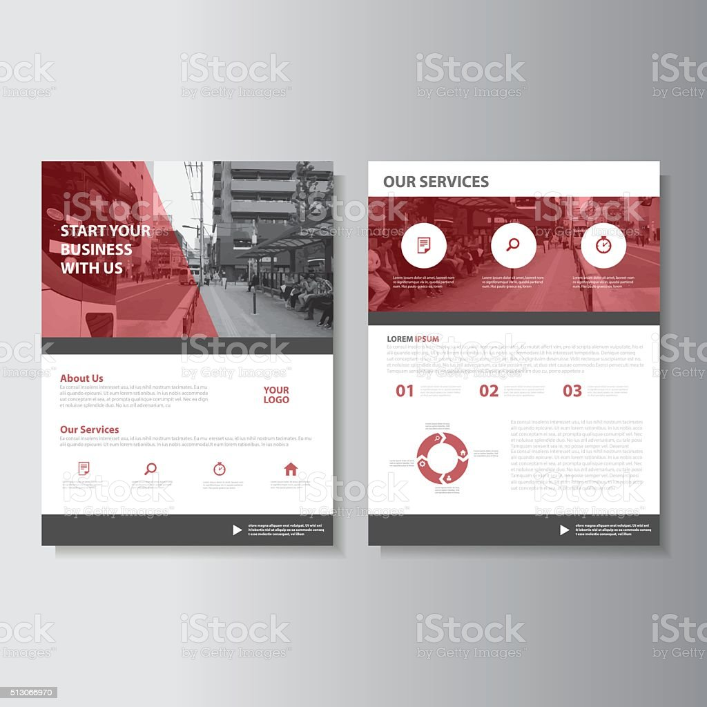 Red Magazine annual report Leaflet Brochure Flyer template design set vector art illustration