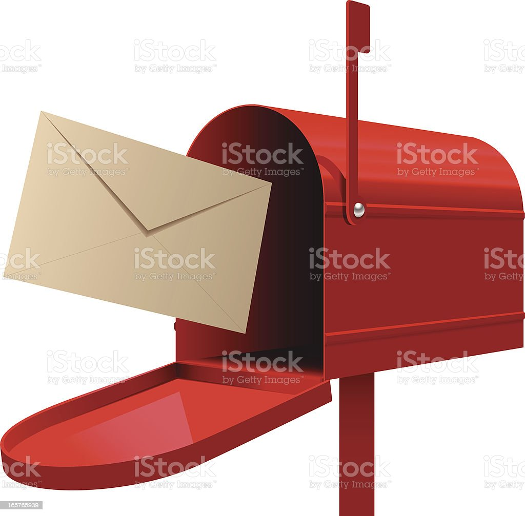 Red mailbox with beige envelope ready to be mailed vector art illustration