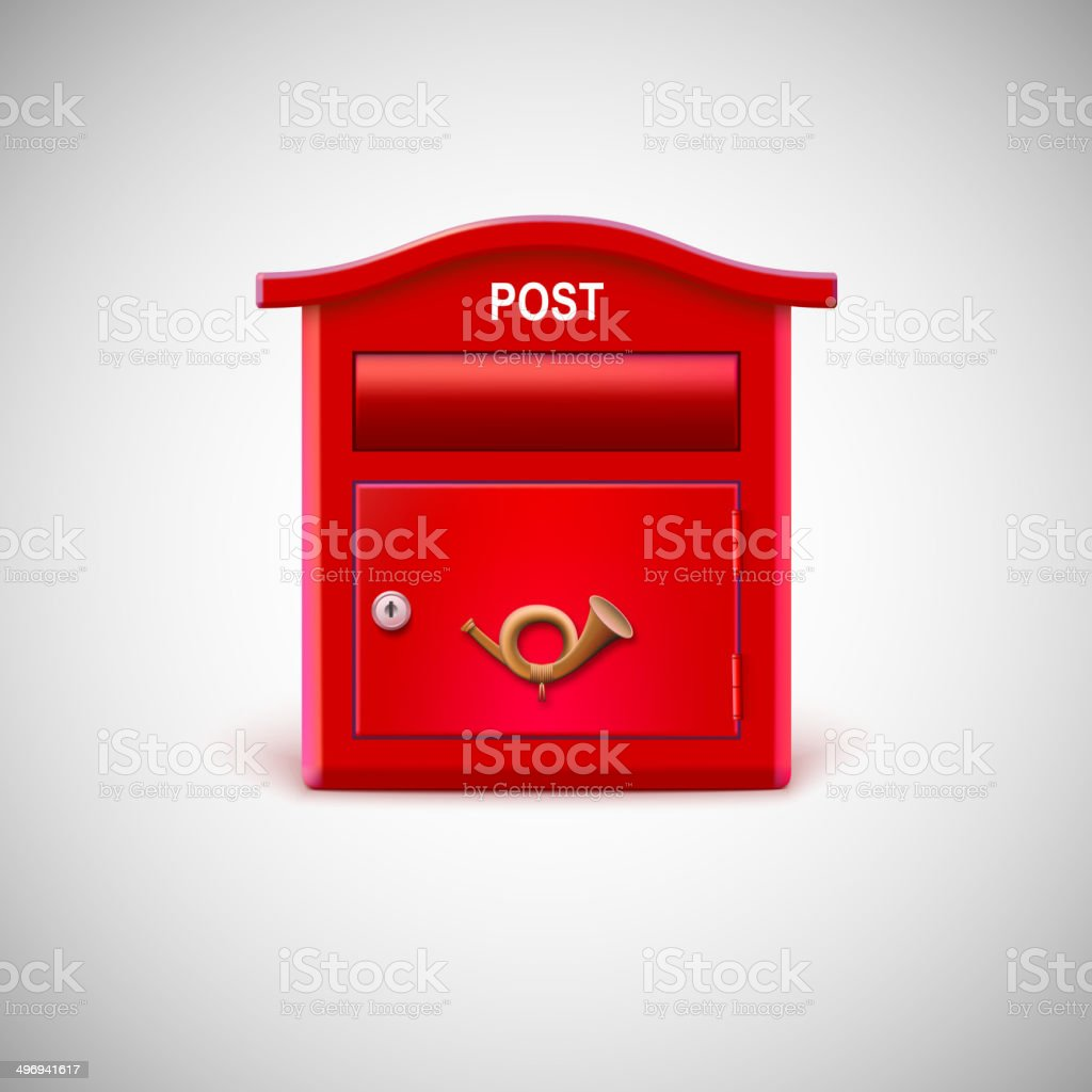 Red mailbox with the postal horn. royalty-free stock vector art