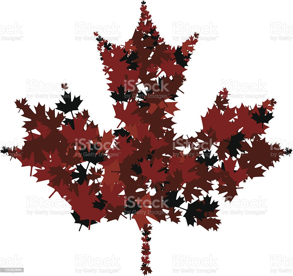Red maple leaf composed of red maple leaves vector art illustration