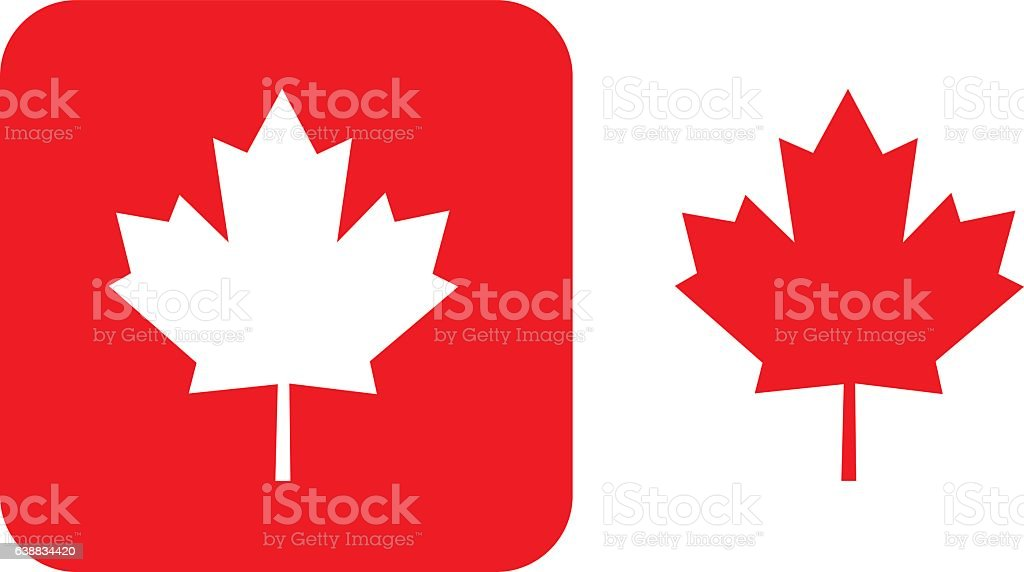 Red Maple Leaf icons vector art illustration