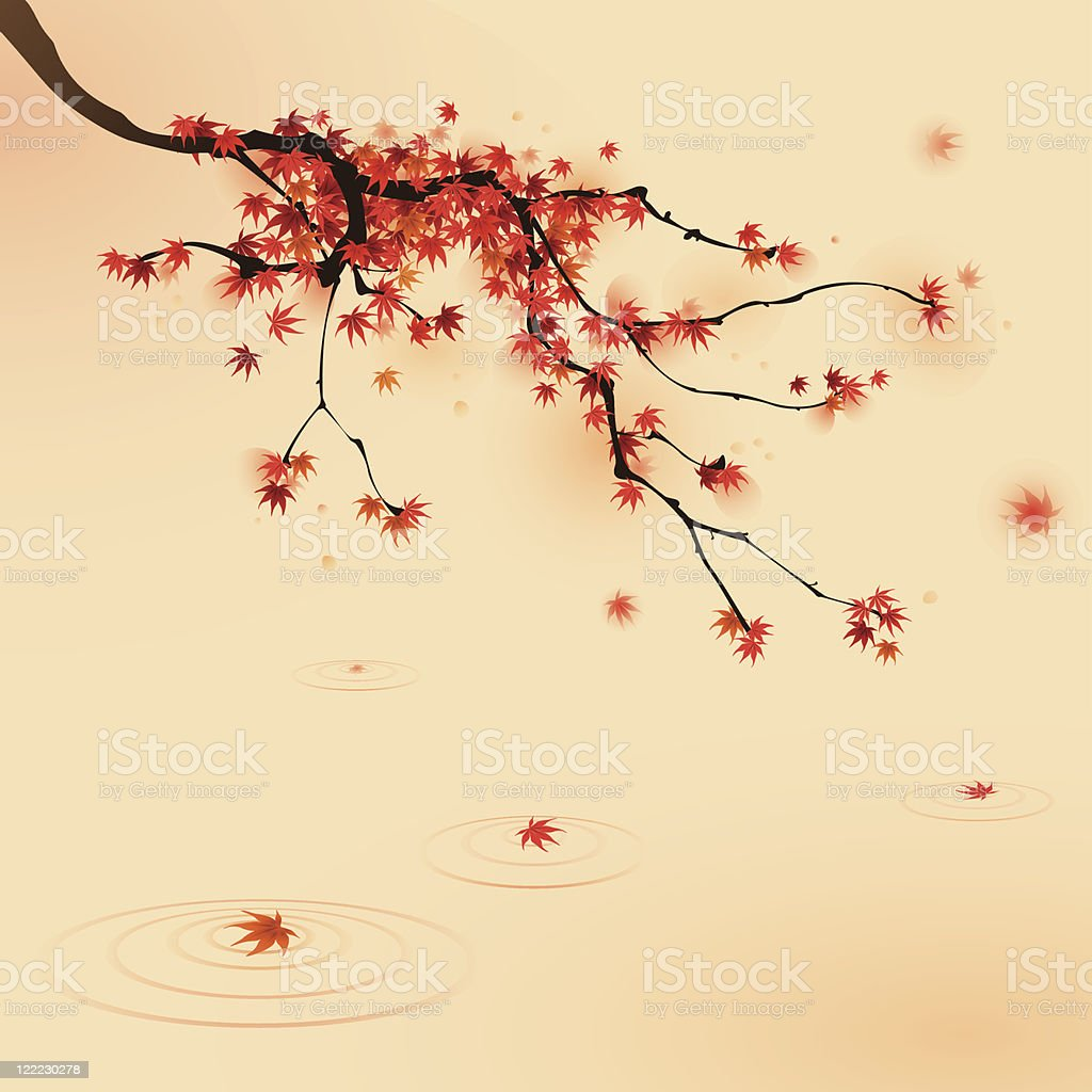 Red maple tree in autumn vector art illustration