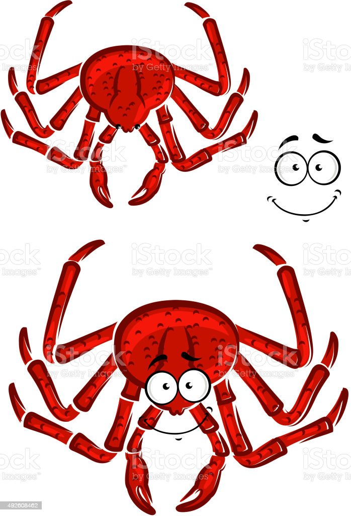 Red marine crab with a happy smile vector art illustration