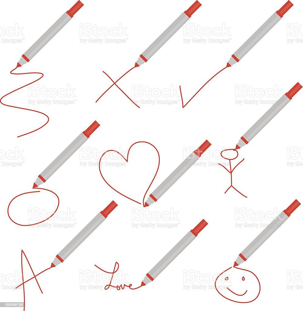 Red Marker Scribbles vector art illustration