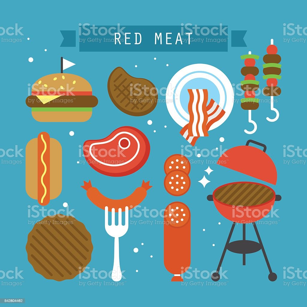 Red meat and processed meat flat stylish icons. Vector illustration vector art illustration
