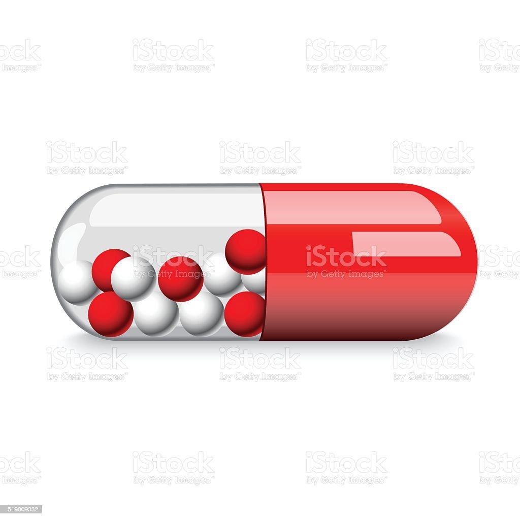 Red medical pill vector art illustration