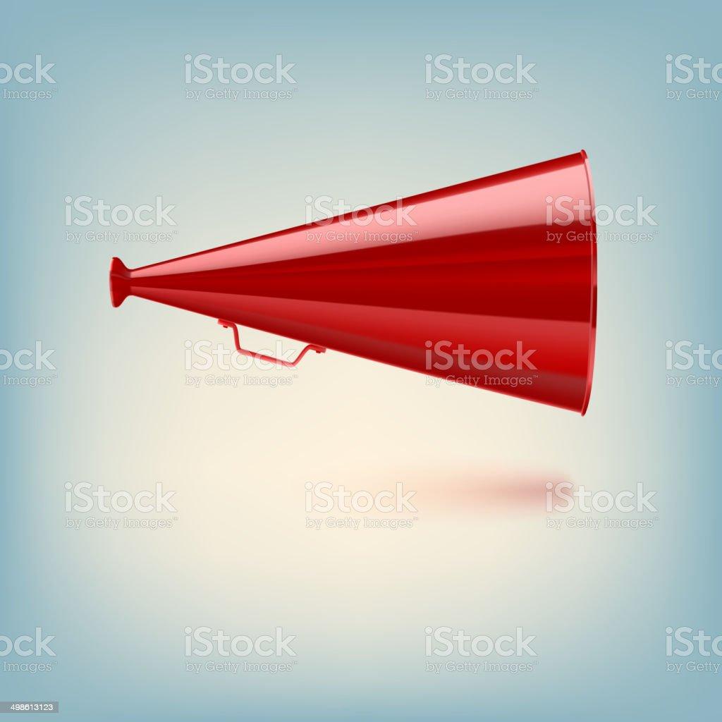 Red megaphone on colored background vector art illustration