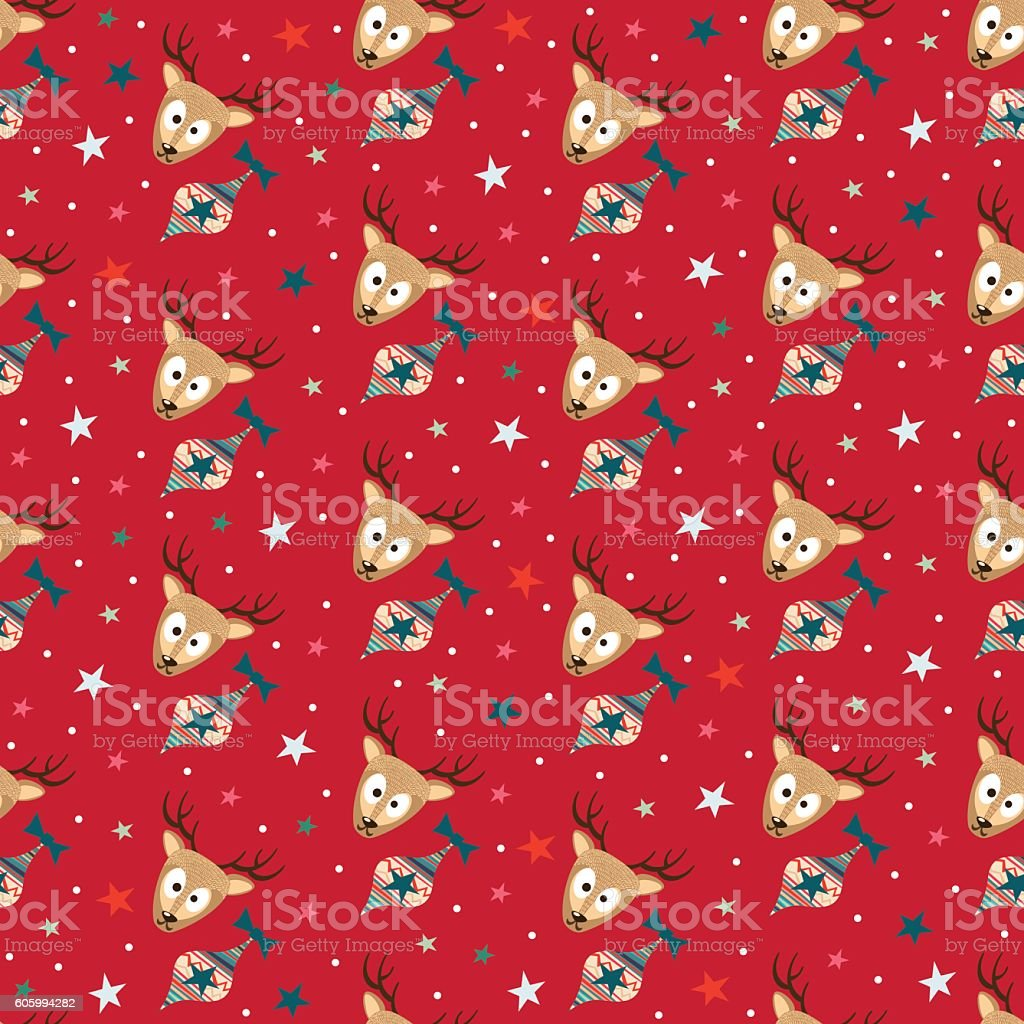 Red Merry Christmas Seamless Pattern Background vector art illustration