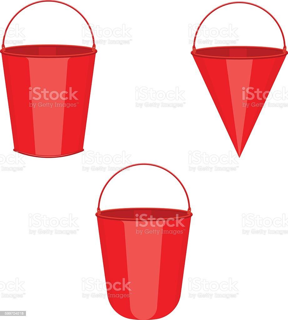 red metal fire buckets set vector illustration vector art illustration
