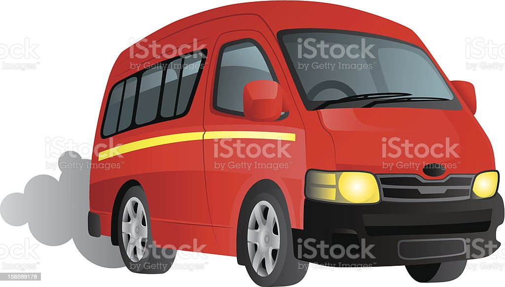 Red minibus van royalty-free stock vector art