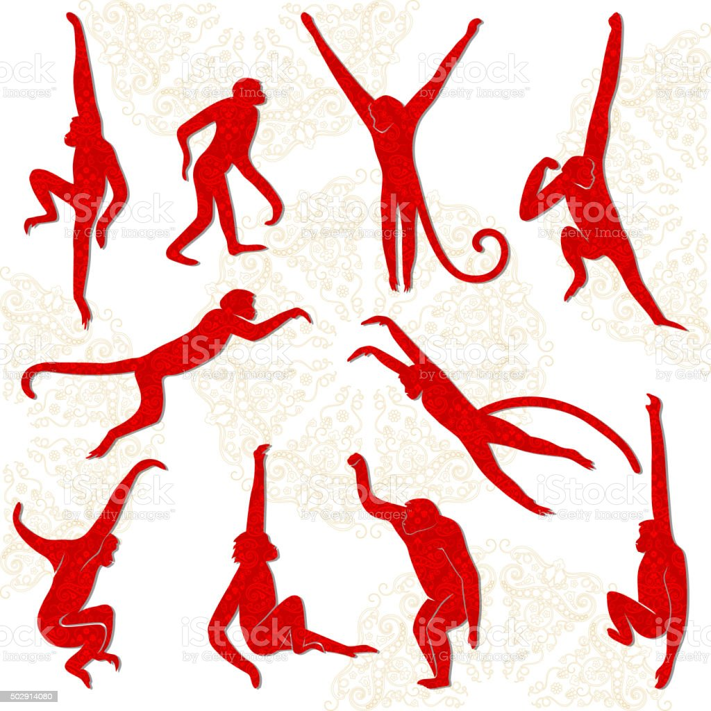 Red monkeys isolated silhouettes. vector art illustration