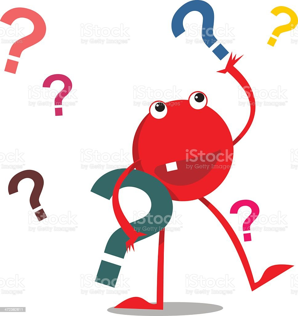 Red monster with question marks royalty-free stock vector art