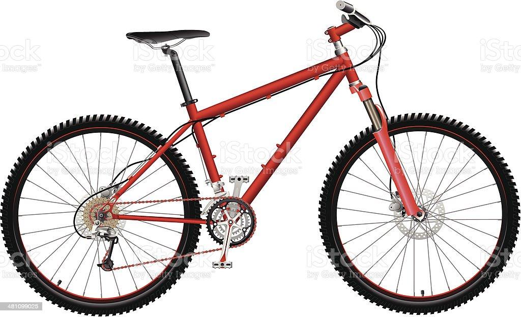 Red Mountain Bike vector art illustration