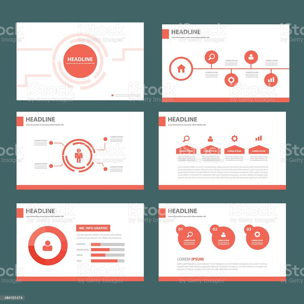 Red Multipurpose presentation Templates vector art illustration