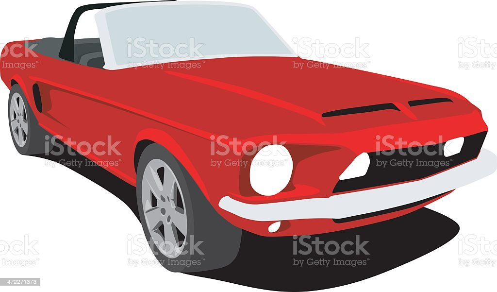 Red Mustang Convertible vector art illustration
