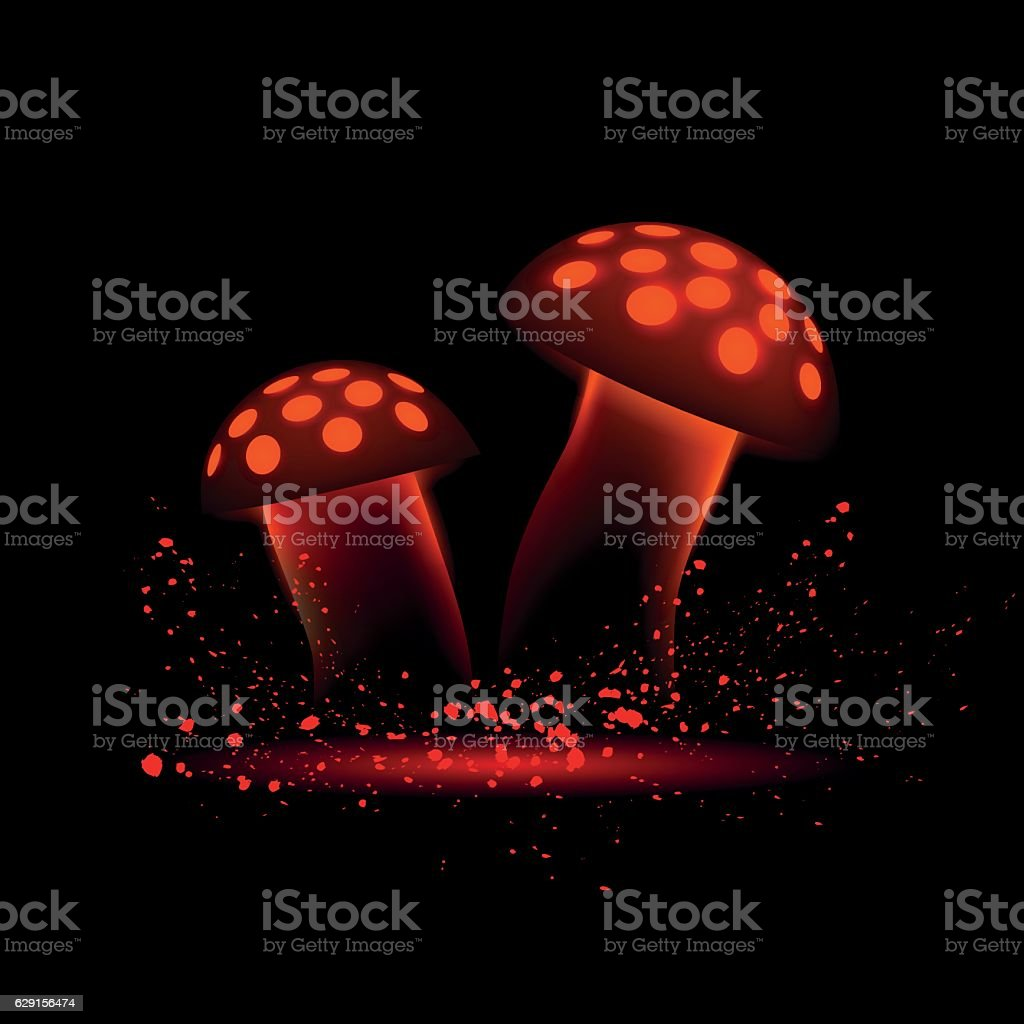Red neon mushrooms. Glowing magic agaric on a black background. vector art illustration