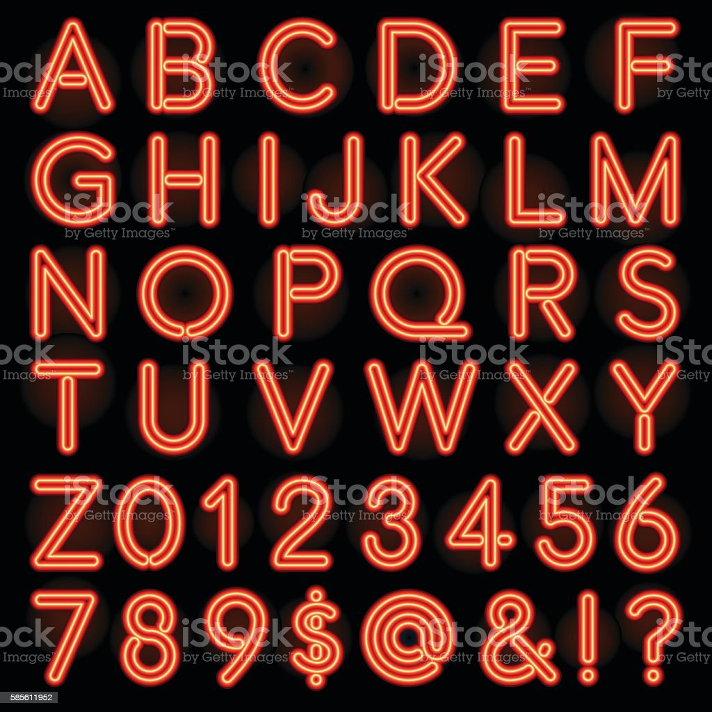 Red Neon Style Lettering Alphabet Set vector art illustration