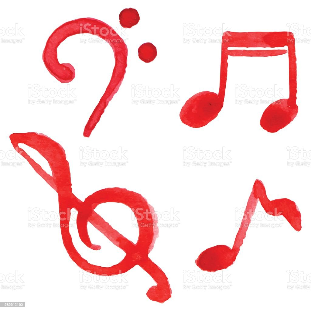 Red notes music symbol set isolated vector vector art illustration