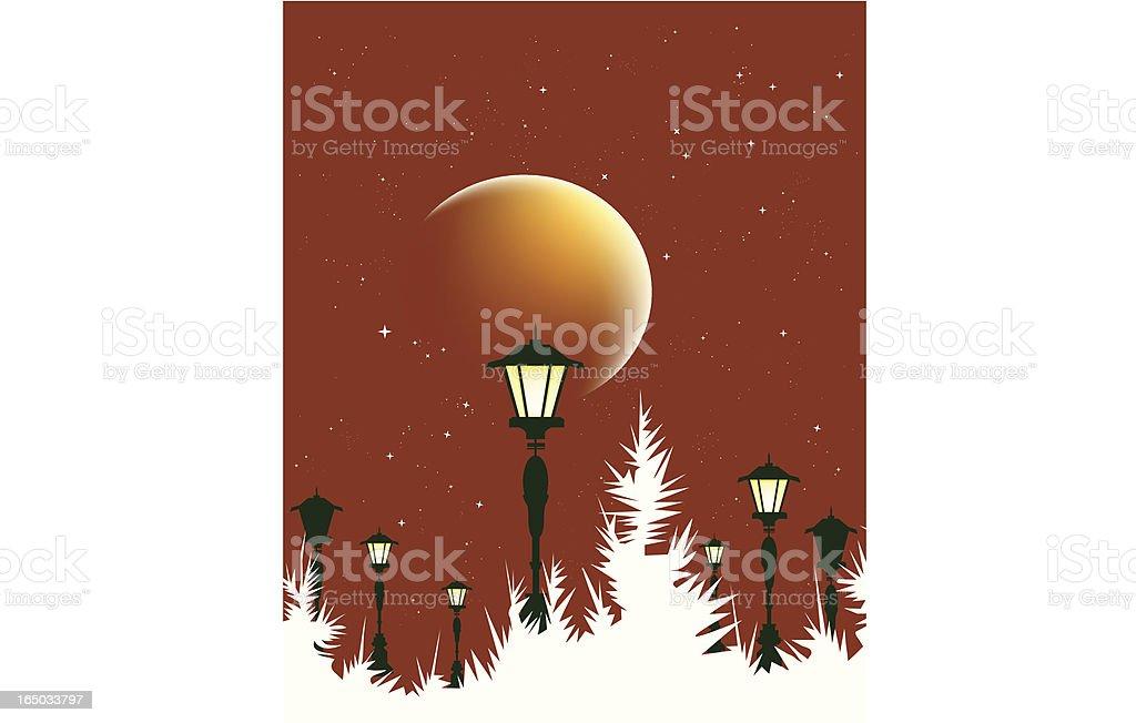 Red November Moon vector art illustration