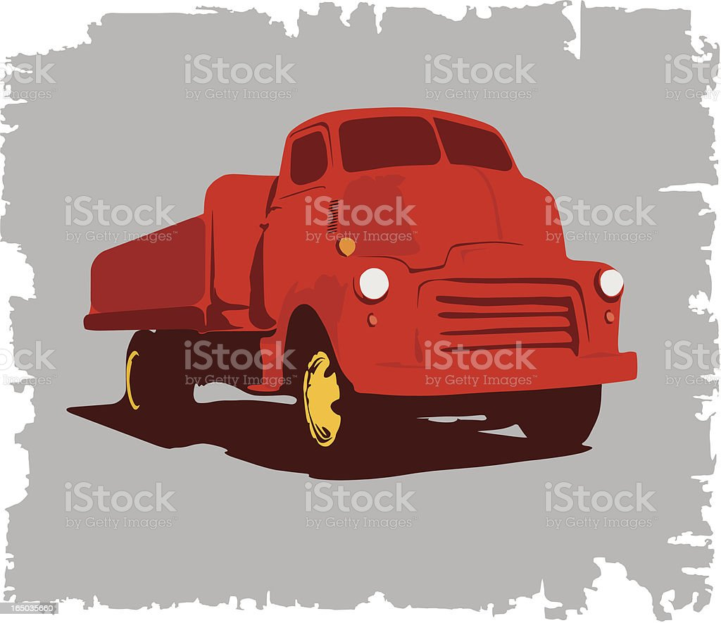 Red Old American Truck royalty-free stock vector art
