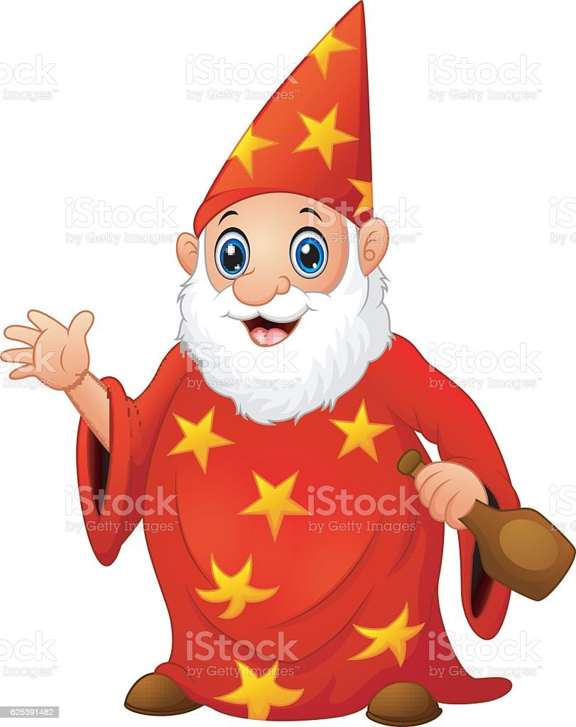 Red old wizard holding a bottle vector art illustration