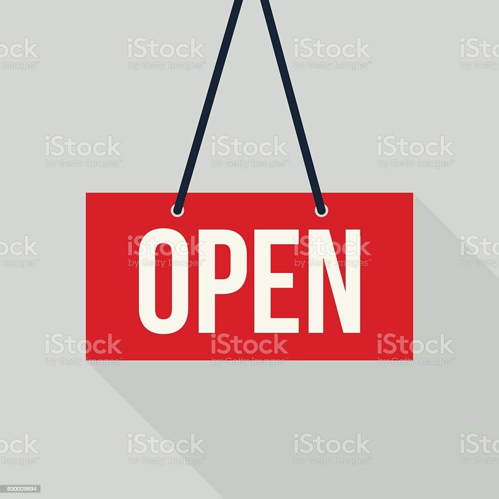 Red open sign vector art illustration