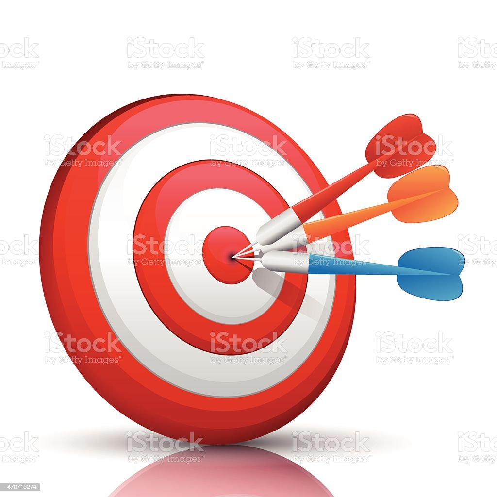 Red, orange and blue darts hitting a bullseye target vector art illustration