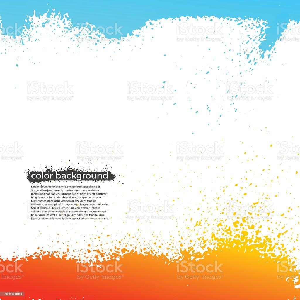 Red, Orange And Blue Splatter Paint Grunge Bright Background vector art illustration