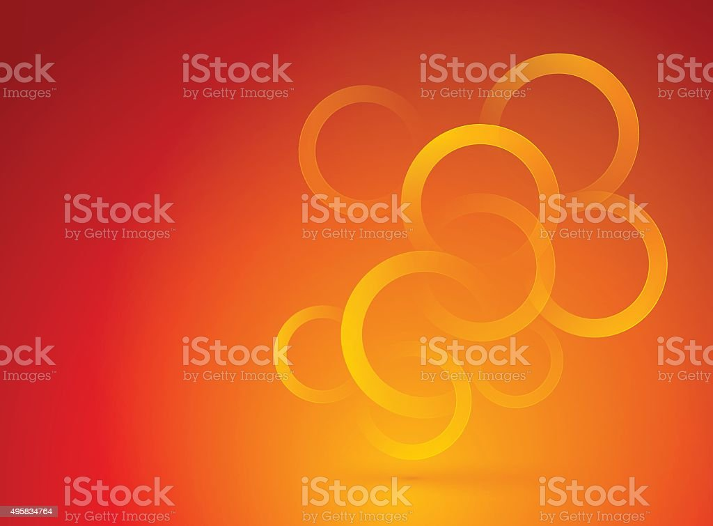 red orange background with circles vector art illustration