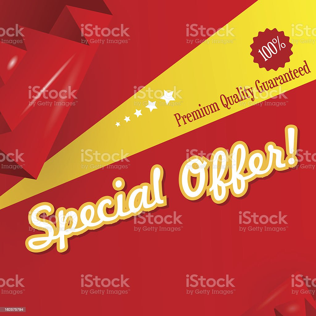 Red origami discount banner vector art illustration