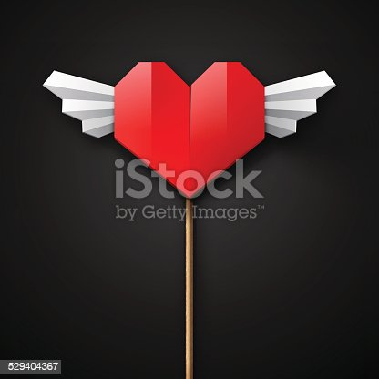 Red Origami Heart With Wings Stock Vector Art 529404367 Istock
