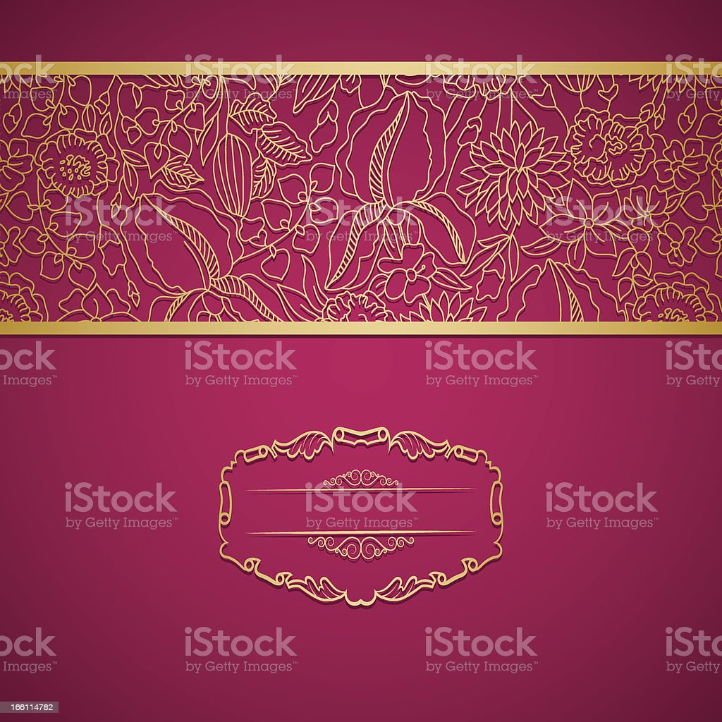 Red ornamental card with lace royalty-free stock vector art