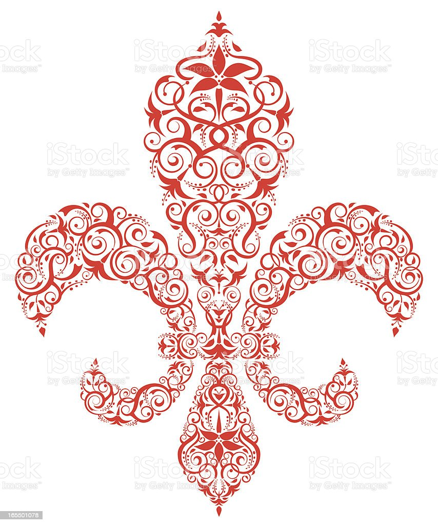 A red ornate fleury De Lys isolated on weight royalty-free stock vector art