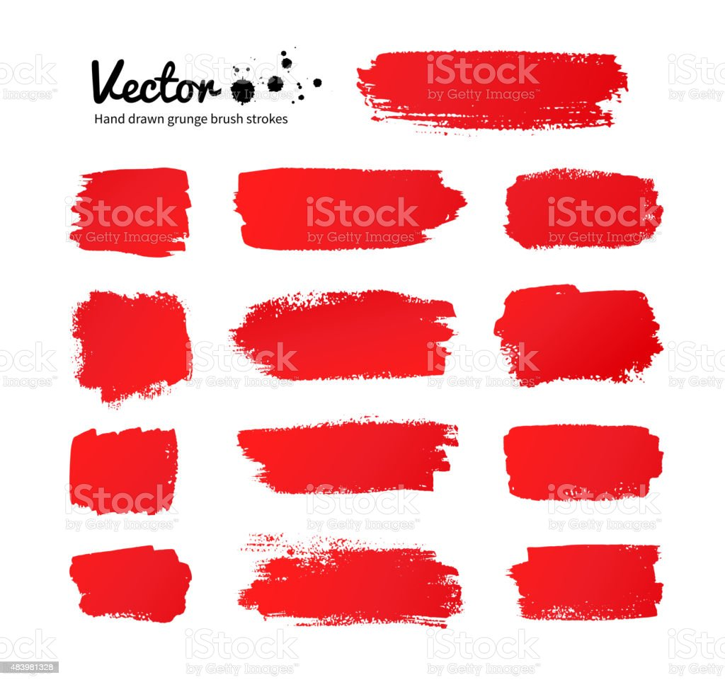 Red paint brush strokes. vector art illustration