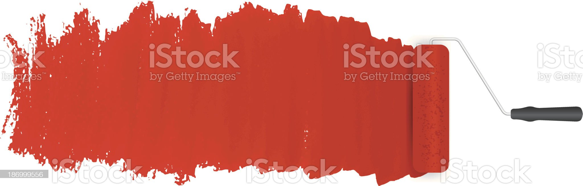 Red paint roller and applied paint on a white background royalty-free stock vector art