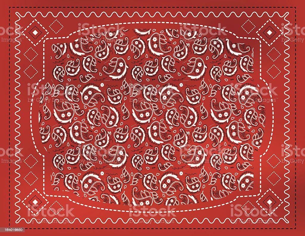 Red Paisley Handkerchief vector art illustration
