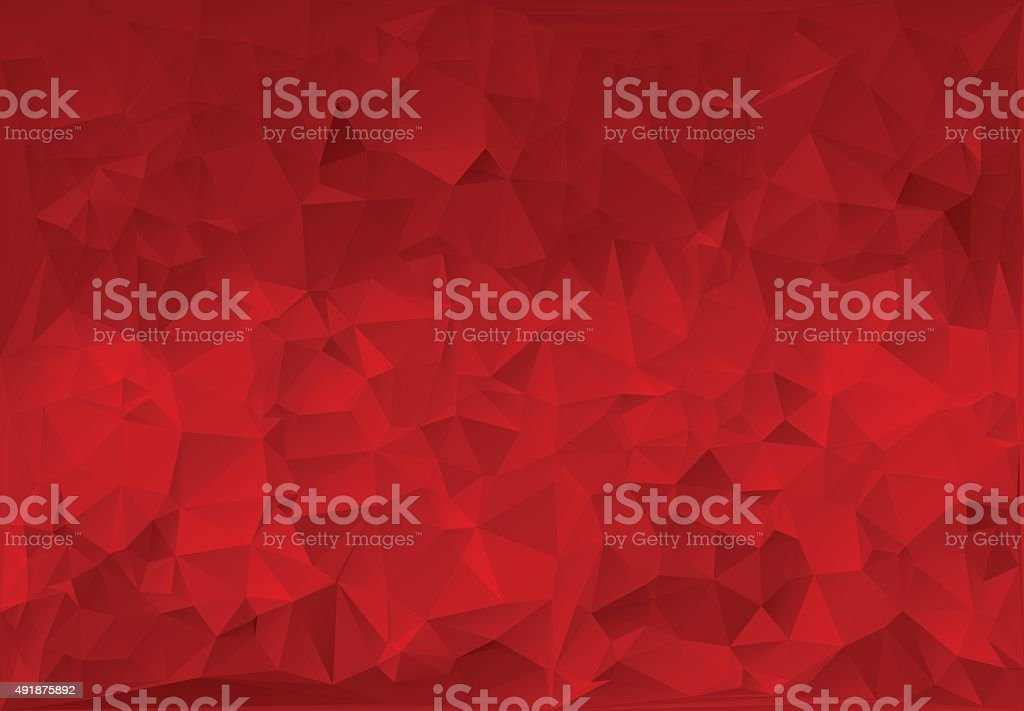 Red paper background polygon. vector art illustration
