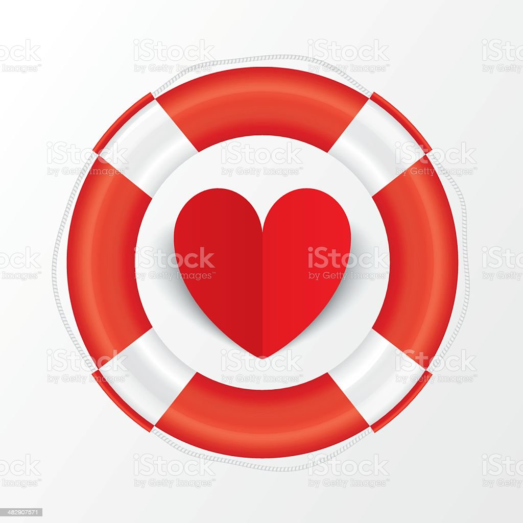 Red paper heart in lifebuoy. Valentines day card. vector art illustration