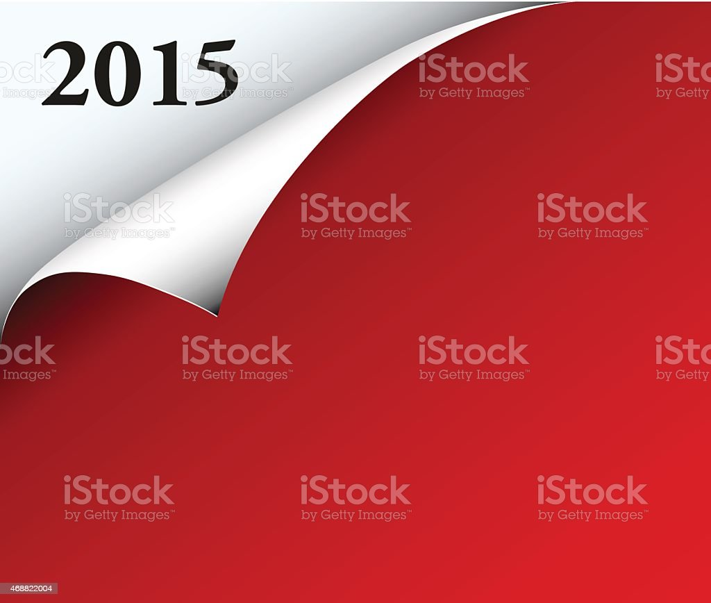 Red paper with year date and corner, vector art illustration