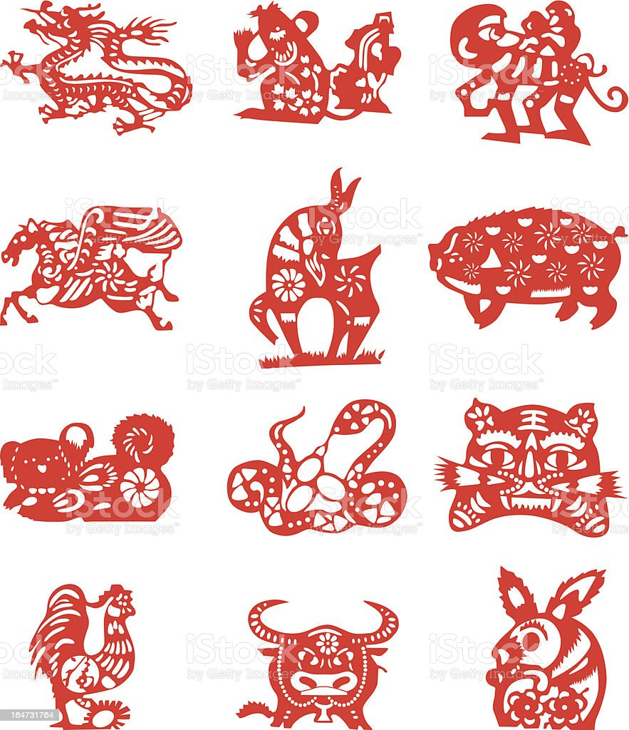 Red paper-cut of twelve Chinese Horoscope on white paper royalty-free stock vector art