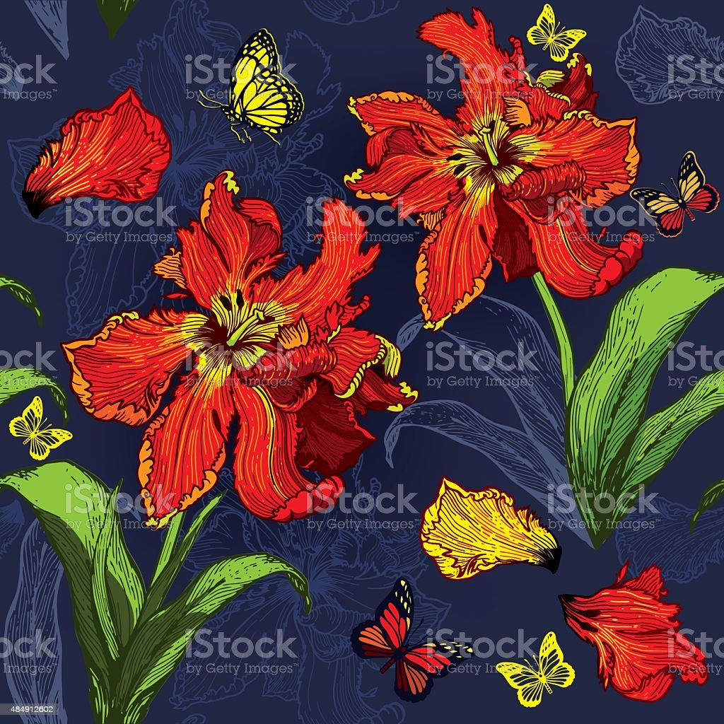 Red Parrot Tulips seamless floral background vector art illustration