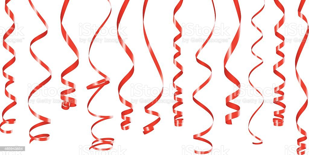Red party ribbons banner vector art illustration