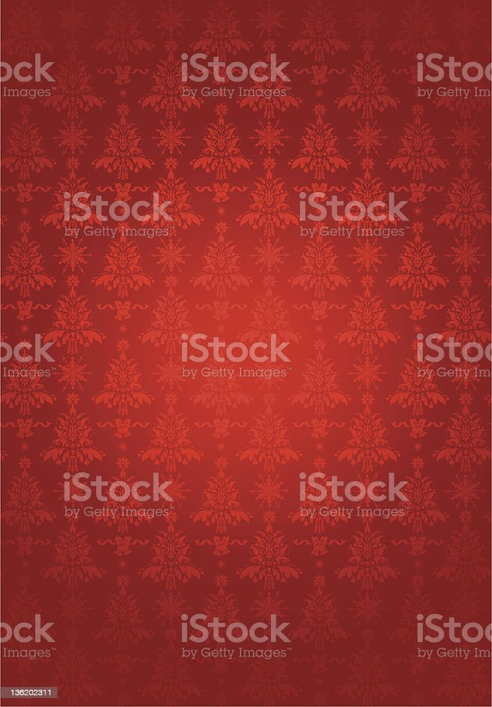 Red patterned wallpaper with ornamental pattern royalty-free stock vector art