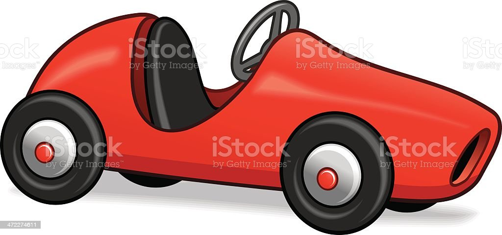 Red pedal car vector art illustration